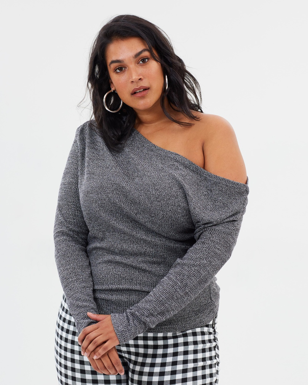 Atmos & Here Curvy ICONIC EXCLUSIVE Kaylee Drape Shoulder Top Tops Charcoal ICONIC EXCLUSIVE Kaylee Drape Shoulder Top