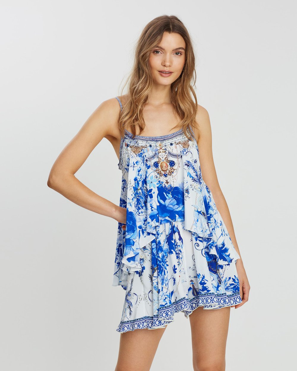 Flared Playsuit With Overlay by Camilla Online