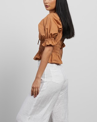 Faithfull The Brand - Loviana Top Cropped tops (Plain Caramel)