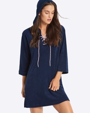 Seafolly – Island Vibe Lace Up Towelling Cover Up – Swimwear (Navy)