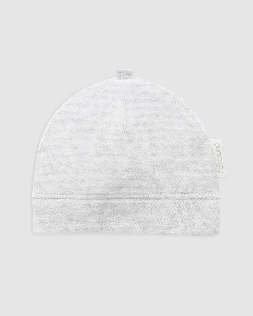 Purebaby Premie Hat Babies Headwear Pale Grey Stripe