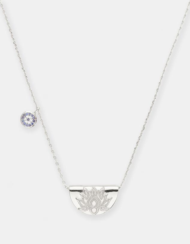 Women Lucky Lotus Silver Pendant Necklace