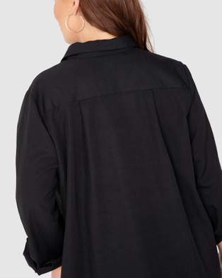 Love Your Wardrobe Manhattan Cotton Over Shirt - Tops (Black)