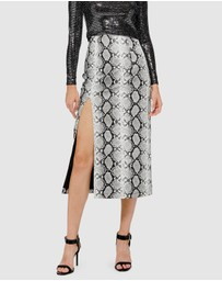 TOPSHOP - Snake Print Leather-Look Pencil Skirt