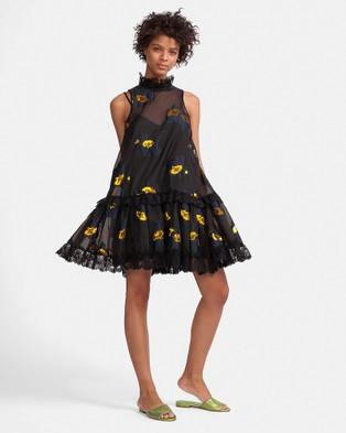 Cynthia Rowley – Metallic Rosebud Dress Black