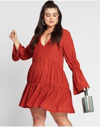 Missguided Curve - Plunge Layered Smock Dress
