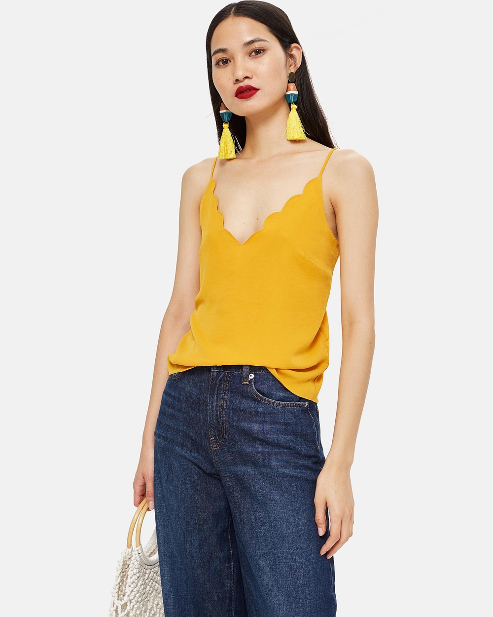TOPSHOP Scallop Cami Tops Yellow Scallop Cami