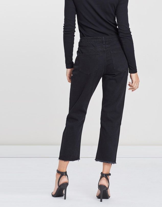 Missguided - Mid Rise Crop Straight Jeans
