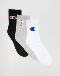 Champion - 3-Pack Mixed Logo Mid-Crew Socks
