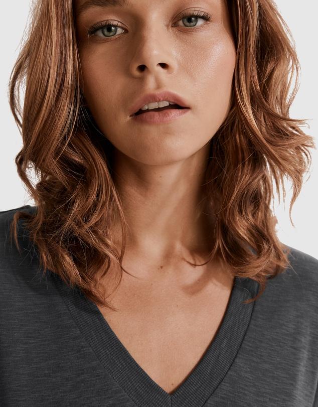 Women Deep V-neck Cotton Slub T-shirt