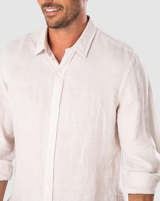 Gazman Tailored Fit Linen Plain Long Sleeve Shirt - Shirts & Polos (Cashew)