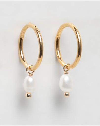 Primavera By Reliquia Drop Pearl Huggies & Gold