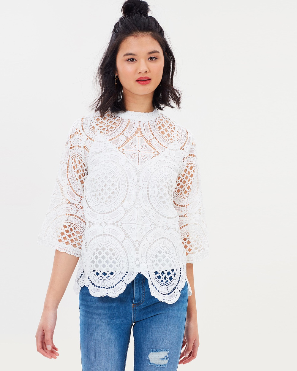 Miss Selfridge Circle Lace Victoriana Top Tops White Circle Lace Victoriana Top