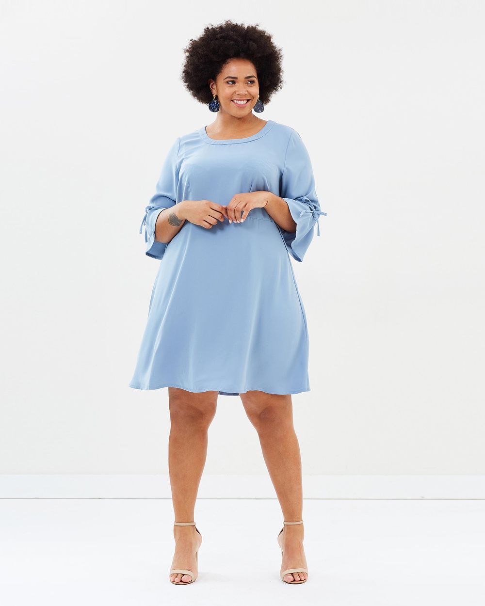 JUNAROSE 3 4 Sleeve Dress Dresses Ashley Blue 3-4 Sleeve Dress