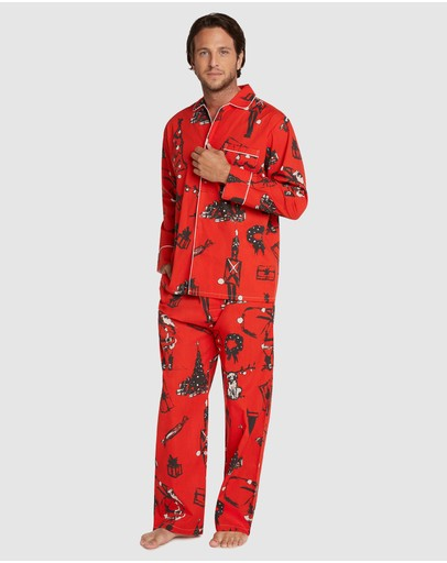 Sant And Abel Christmas Eve Long Sleeve Pj Pant Set Red