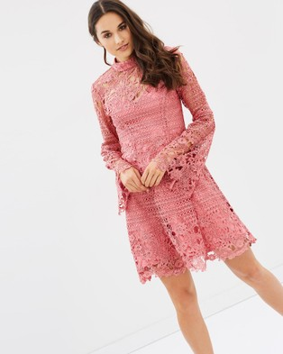 Bariano – Some Like it Hot Bell Sleeve Dress Rose