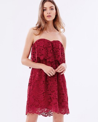 Buy Atmos & Here - Frida Strapless Lace Dress - Dresses (Coral Red) -  shop Atmos & Here dresses online
