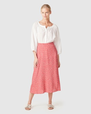 French Connection Blossom Midi Skirt - Skirts (WASHED RED BLOSSOM)
