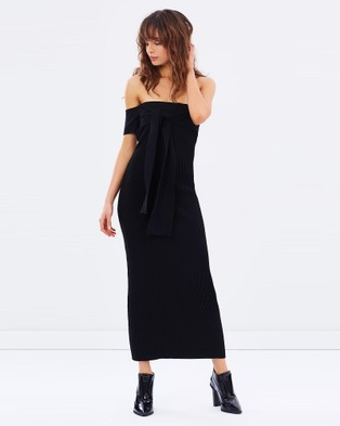 Friend of Audrey – Escada Off Shoulder Knit Dress – Bodycon Dresses Black