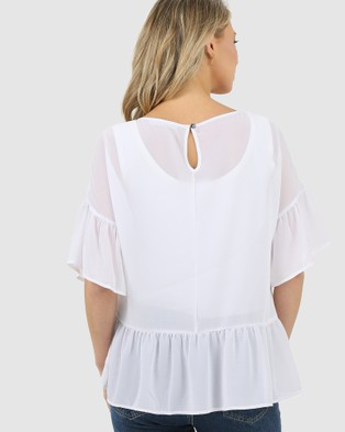 Lincoln St The Frill Hem Top - Tops (Off White)