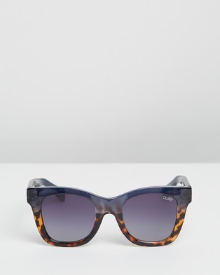Quay Australia After Hours Navy and Tort Square Sunglasses - Square (Navy Tort & Smoke)