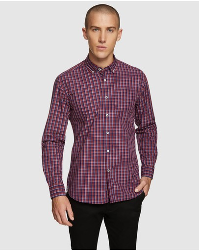 Oxford Stratton Regular Fit Checked Shirt Red