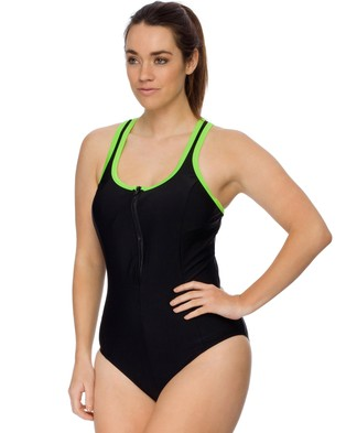 Curvy Chic Sports – Racerback Swimsuit – One-Piece Swimsuit Black & Lime