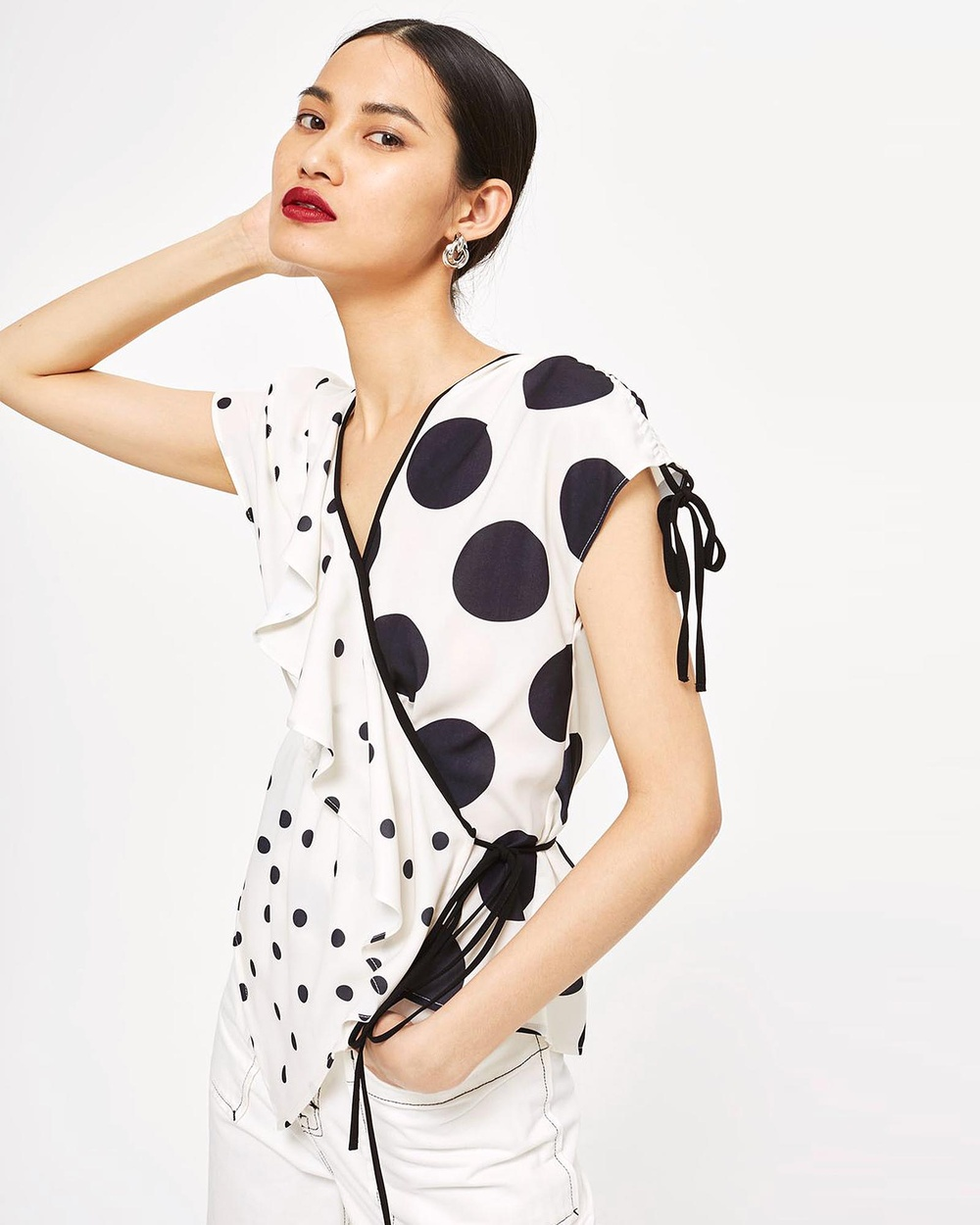 TOPSHOP Mixed Spotted Wrap Top Tops Monochrome Mixed Spotted Wrap Top