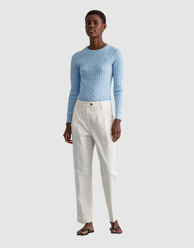 Women Stretch Cotton Cable Crew