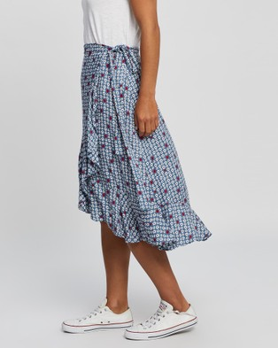 All About Eve Retro Floral Wrap Skirt - Skirts (PRINT)