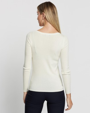 Forcast Stacey Boat Neck Knit - Jumpers & Cardigans (Ivory)