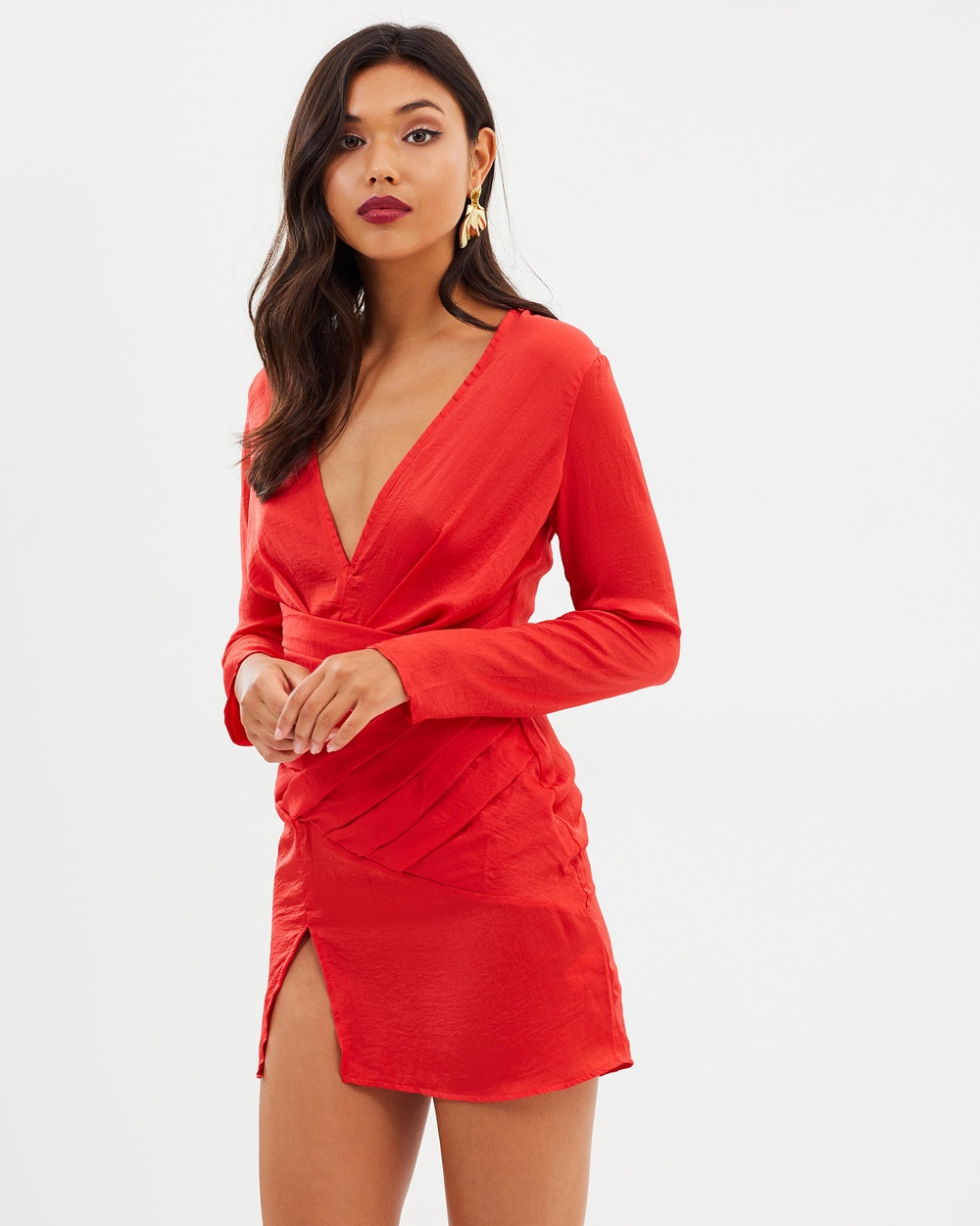 Missguided Silky Long Sleeve Paneled Shift Dress Dresses Red Silky Long Sleeve Paneled Shift Dress