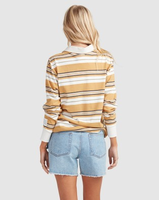 Billabong Double Up Rugby Long Sleeve - Tops (MUSTARD)