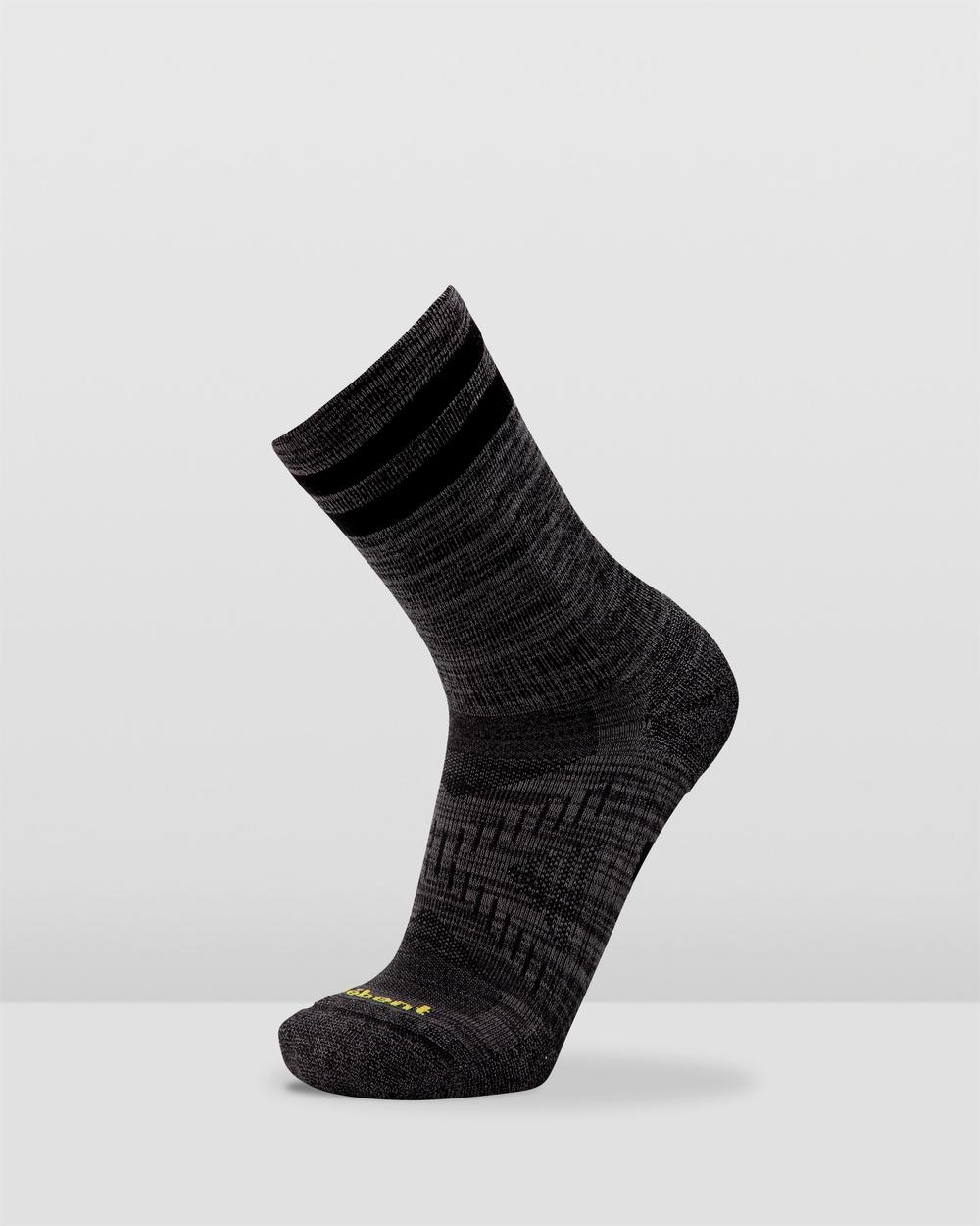 Le Bent Trail Light 3 4 Crew Socks Black Marle 3-4