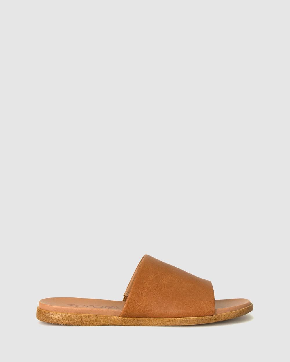 Zeroe Sofia Flat Mule Sandals Flats Tan