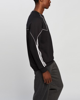 adidas Originals - Big Trefoil Abstract Crew Sweatshirt Sweats (Black & White)