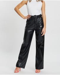 Missguided Petite - Faux Leather Wide Leg Trousers