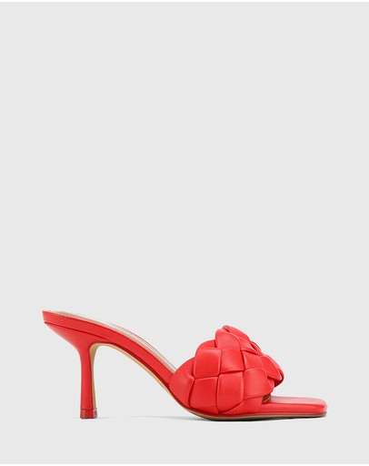 Wittner Combs Woven Leather Stiletto Heel Sandals Red