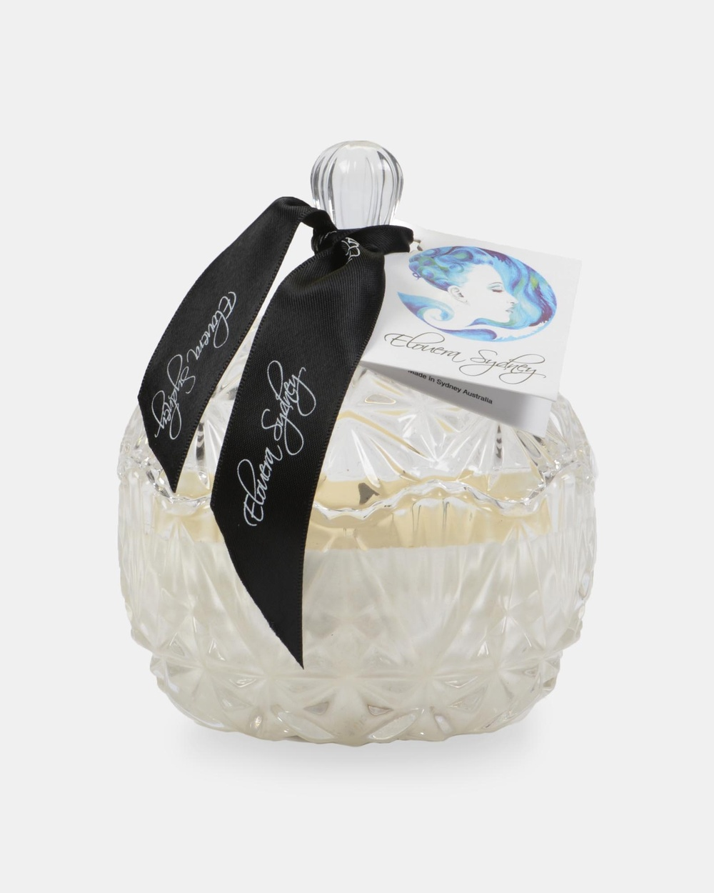 Elouera Sydney Lychee and Peony Crystal Cut Candle Candles White
