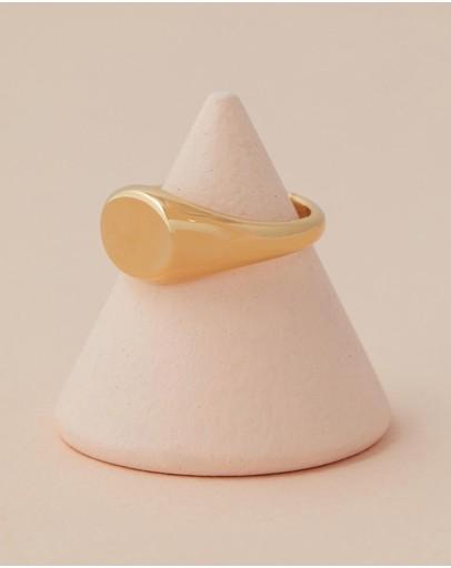 Orelia London Clean Metal Oval Signet Ring Pale Gold