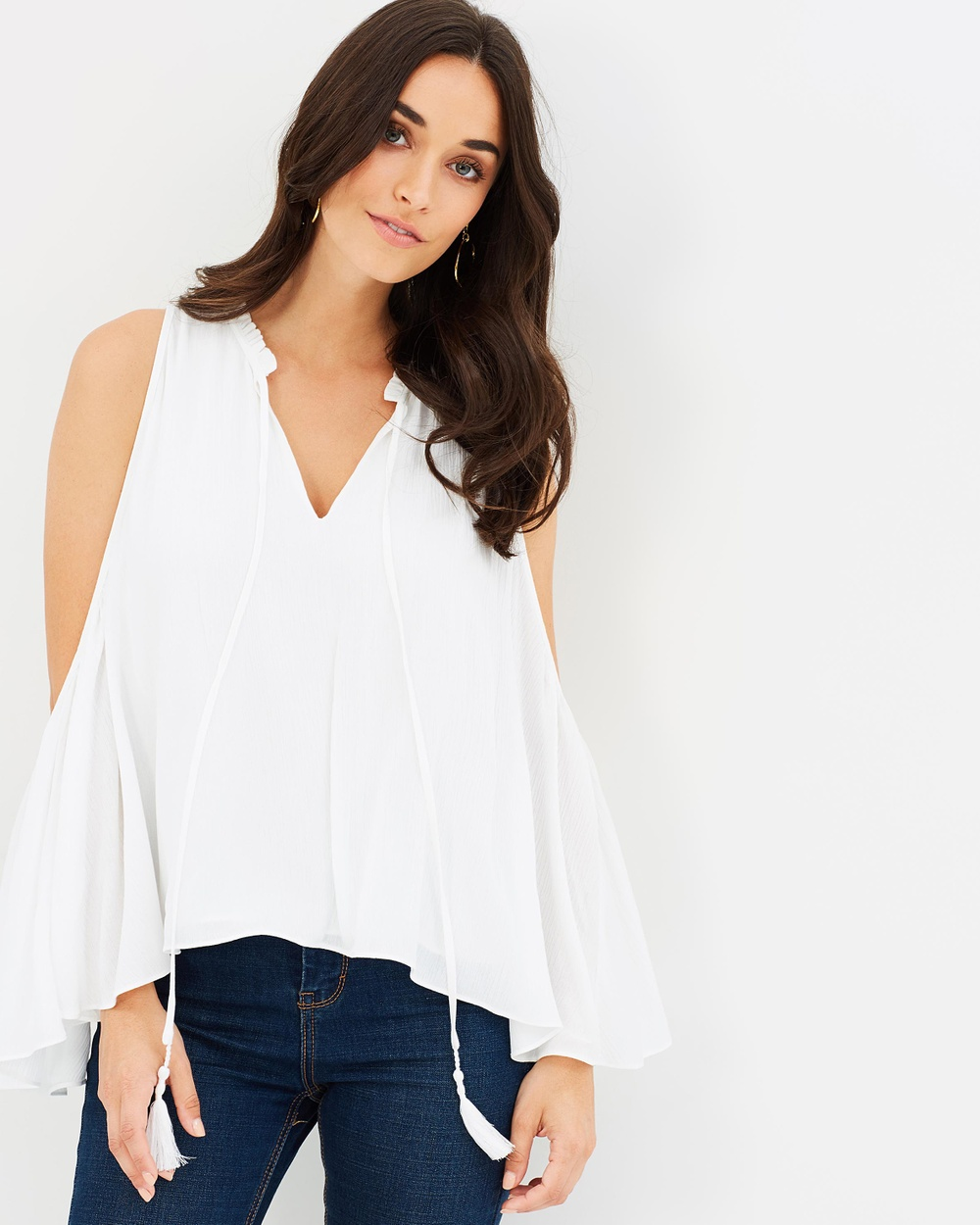 Guess Kira Soft Gauze Top Tops White Kira Soft Gauze Top