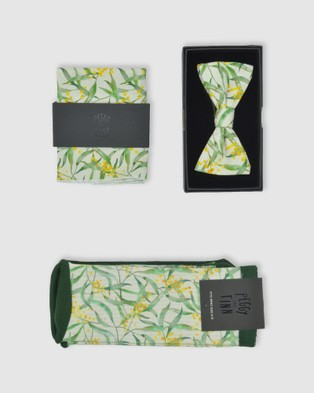 Peggy and Finn Wattle Bow Tie Gift Box - Ties & Cufflinks (White)