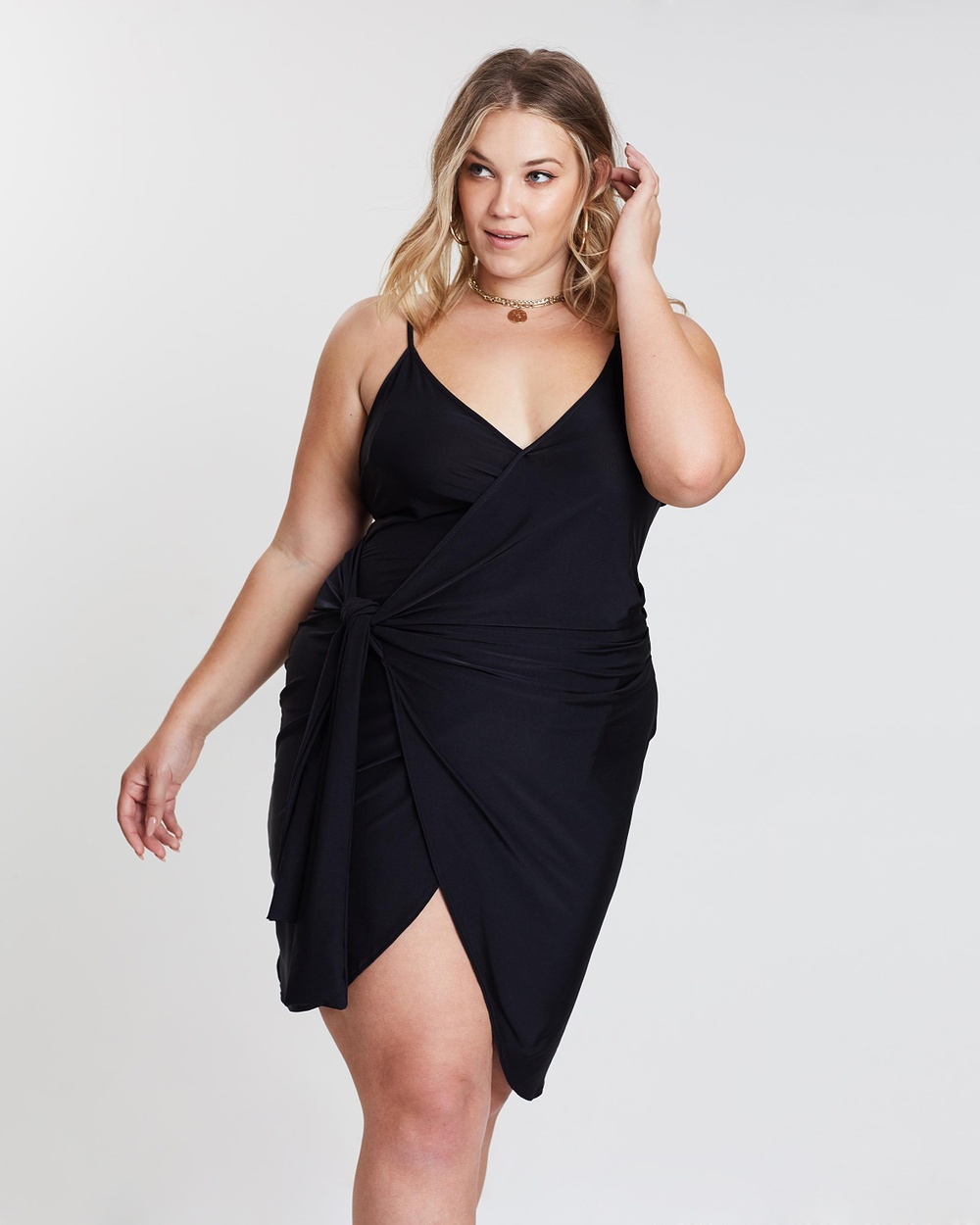 Missguided Curve Black Wrap Cami Dress