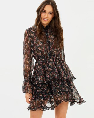 ALPHA-BE – Solange Mini Dress Black Floral