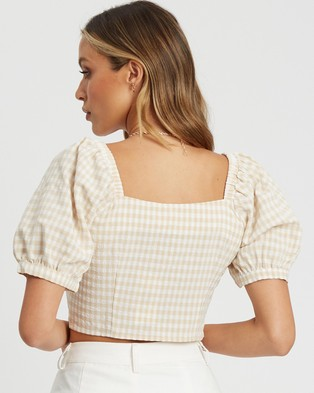 The Fated Senorita Blouse - Cropped tops (Sand Gingham)