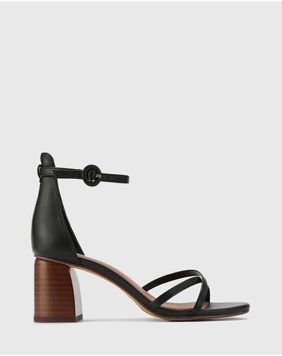 Wittner Nakita Leather Curve Heel Sandals Black