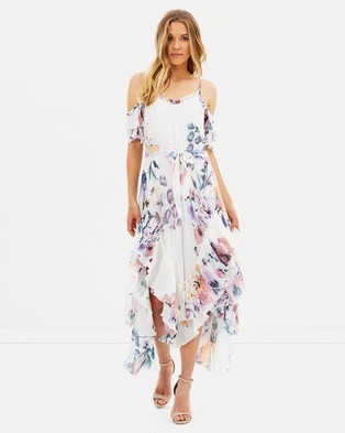 We Are Kindred – Catarina Pleat Maxi Dress – Printed Dresses Painterly Bloom