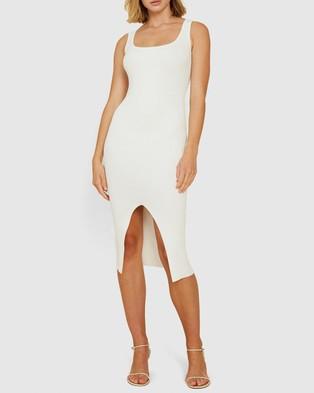 BY JOHNNY. Alice Split Knit Dress - Bodycon Dresses (White)