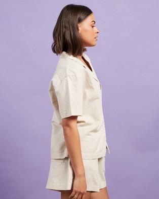 Nude Lucy Ezra Linen Shirt - Tops (Oat)