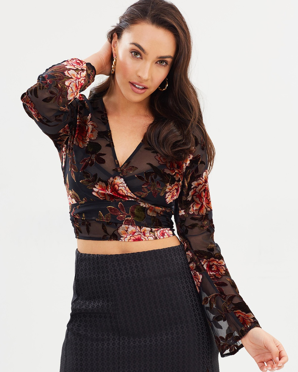 MINKPINK Night Fall Wrap Top Cropped tops Multi Night Fall Wrap Top